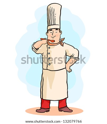 Illustration of a chef - stock vector