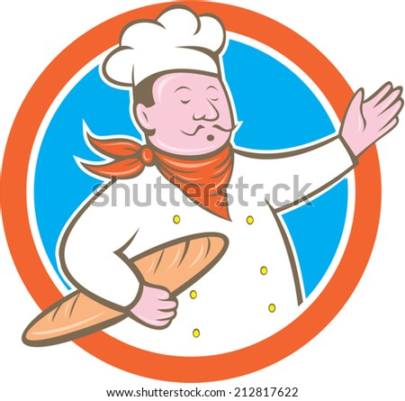 Illustration of a chef cook baker holding baguette bread set inside circle on isolated background done in cartoon style - stock vector