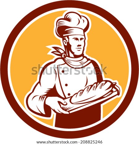 Illustration of a chef, cook or baker holding bread set inside circle on isolated background done in retro woodcut style.  - stock vector