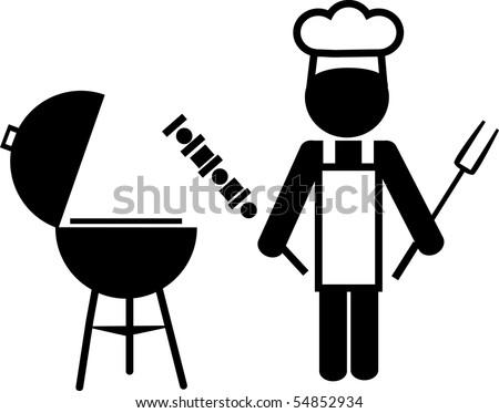 illustration of a  chef making bbq and holding shish kebab - stock vector