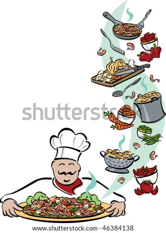 Illustration of a chef presenting a platter of shrimp, pasta and vegetables, with food and tools used for preparation. Space for text on left. Elements are grouped for easy editing. - stock vector