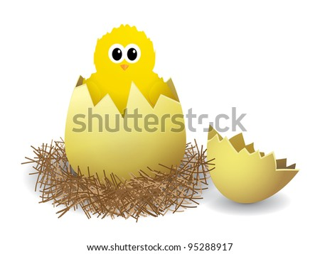 Illustration of a chicken in a nest on white background - stock vector