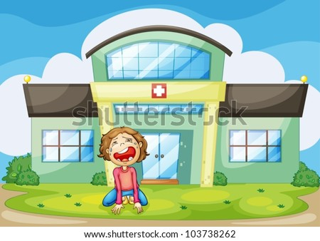 Illustration of a child crying - stock vector