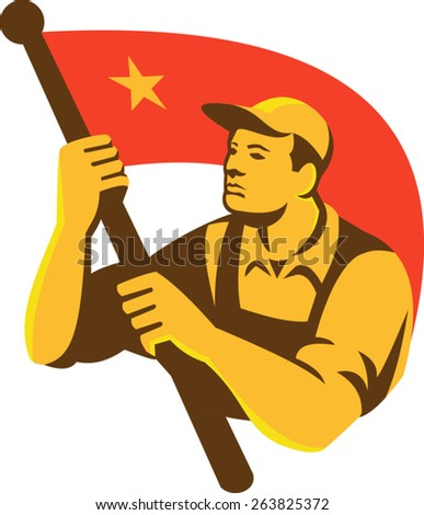 Illustration of a Chinese Communist worker holding waving red flag with star done in retro style. - stock vector