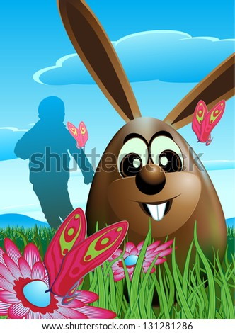 Illustration of a chocolate Easter egg that is both the Easter Bunny in a single image. Located in a green grass meadow with flowers and butterflies. Basically there is a child looking for eggs. EPS10