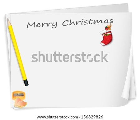 Illustration of a christmas card with a pencil, a sharpener and a sock on a white background - stock vector