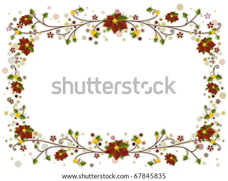 Illustration of a Christmas Frame Adorned with Poinsettia and Vines - stock vector