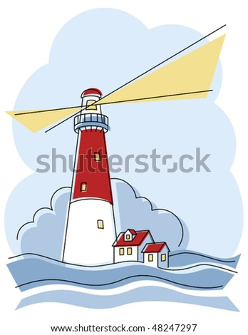 Illustration of a classic lighthouse. - stock vector