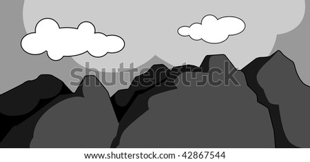Illustration of a cliff of  mountain