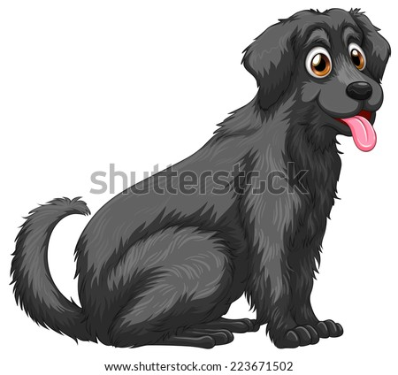 Illustration of a close up black dog - stock vector