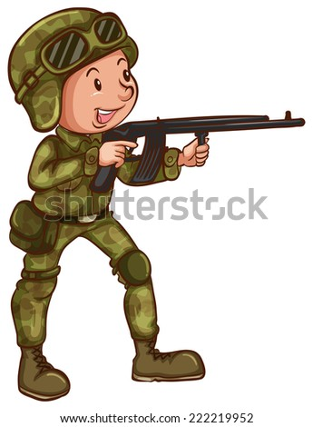 Illustration of a close up soldier - stock vector