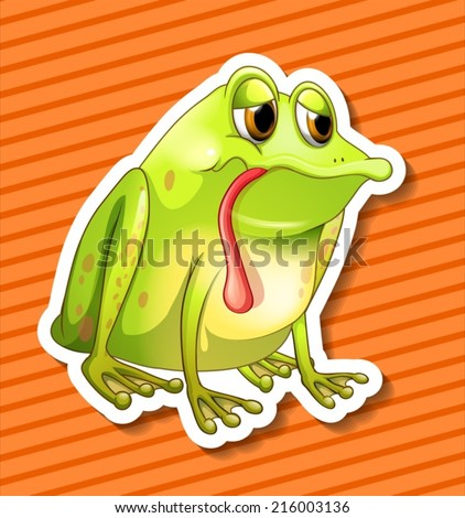 Illustration of a closeup frog with background