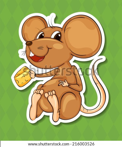 Illustration of a closeup mouse - stock vector