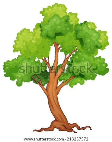 Illustration of a closeup single tree - stock vector