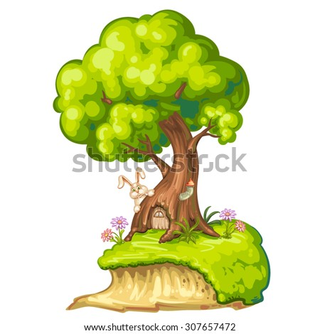 Illustration of a closeup tree with house for gnome - stock vector