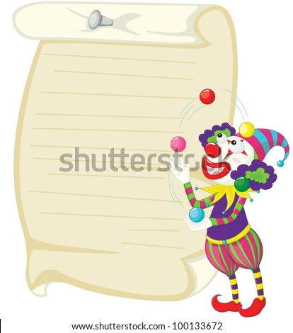 Illustration of a clown and paper - stock vector