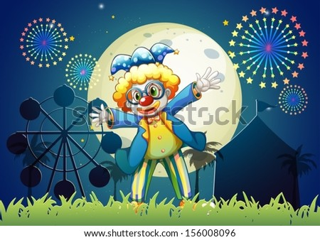 Illustration of a clown at the carnival - stock vector