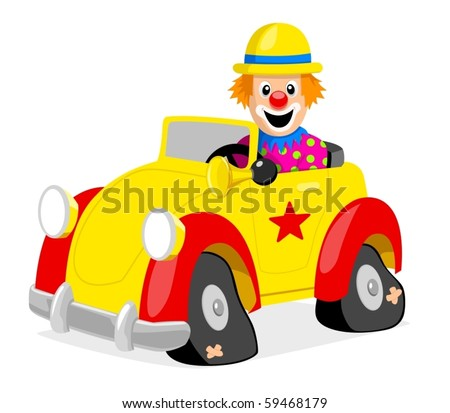 Illustration of a clown driving a car - stock vector