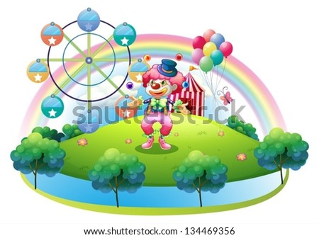 Illustration of a clown juggling in front of the carnival on a white background