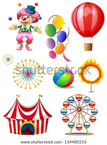Illustration of a clown playing balls with different circus stuffs on a white background - stock vector