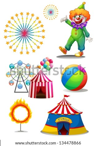 Illustration of a clown with the different things in a carnival on a white background - stock vector