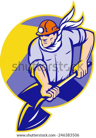 Illustration of a coal miner digger with spade shovel digging set inside circle done in retro style.