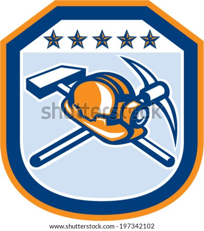 Illustration of a coal miner hardhat with crossed pick axe and hammer set inside shield crest on isolated backgorund done in retro style. - stock vector