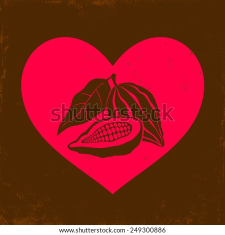 Illustration of a Cocoa bean and pink heart - stock vector