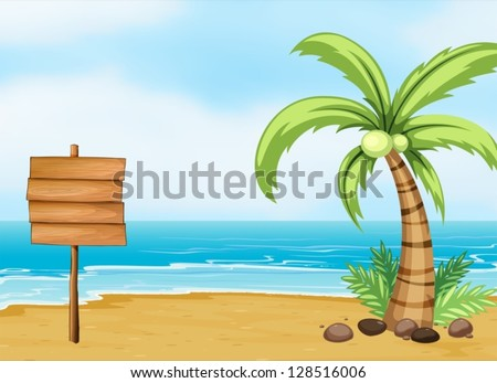Illustration of a coconut tree and an empty board at the beach - stock vector