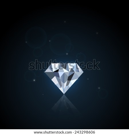 Illustration of a colorful diamond against a dark background. - stock vector