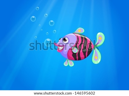 Illustration of a colorful fish smiling under the sea