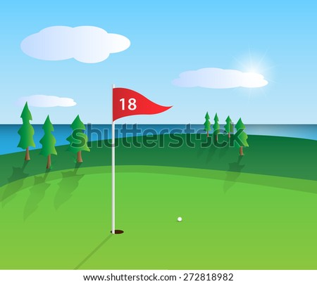 Illustration of a colorful golf course design. - stock vector