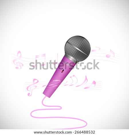 Illustration of a colorful microphone isolated on a white background. - stock vector