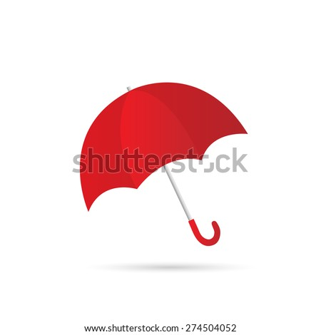 Illustration of a colorful red umbrella isolated on a white background. - stock vector