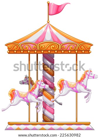 Illustration of a colourful merry-go-round on a white background  - stock vector