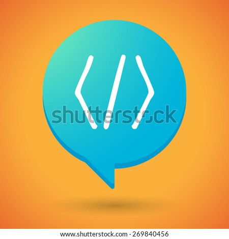Illustration of a comic balloon icon with a code sign - stock vector
