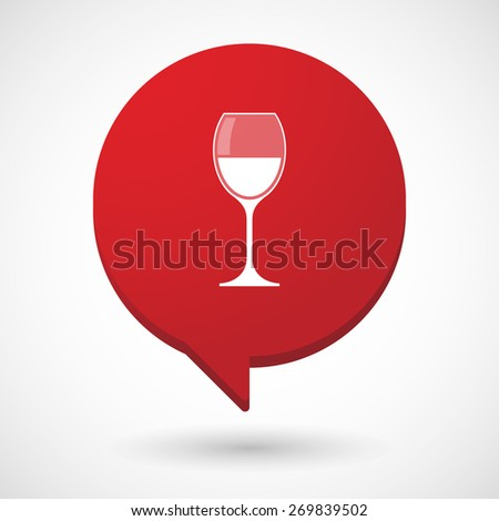 Illustration of a comic balloon icon with a cup of wine - stock vector