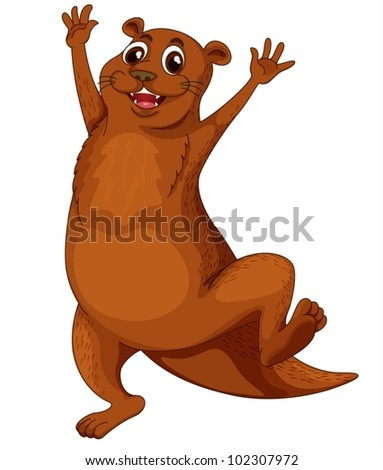 Illustration of a comical otter - stock vector