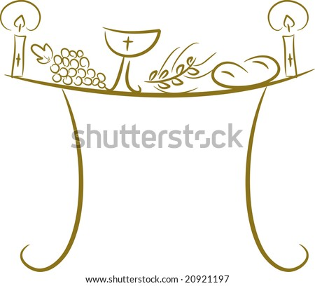 Illustration of a communion table depicting traditional Christian symbols including candle (light), chalice, grapes (wine), ear, cross and bread (vector) - stock vector