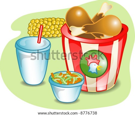 Illustration of a complete lunch with a bucket of chicken, coleslaw, corn and a drink. Part of the complete meal series. - stock vector
