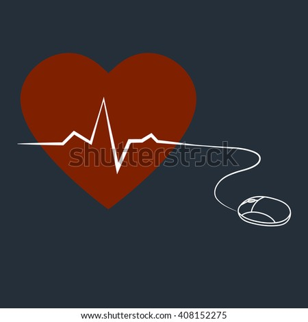 Illustration Computer Mouse Connected Red Heart Stock Vector