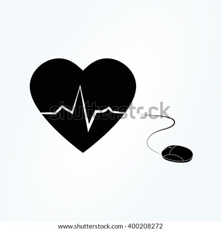 Illustration Computer Mouse Connected Heart Symbol Stock Photo