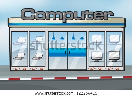 Illustration of a computer shop near the street