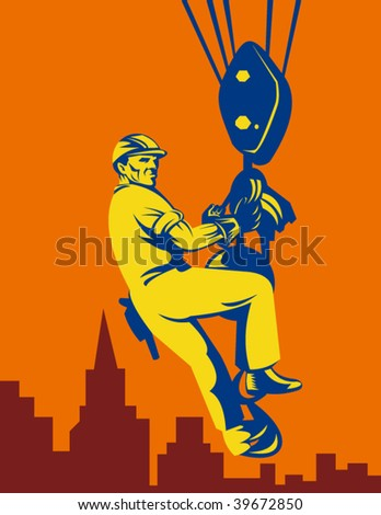 illustration of a Construction worker being hoisted with buildings