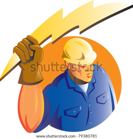 illustration of a Construction worker electrician holding a lightning electricity bolt viewed from a high angle set inside circle isolated on white done in retro style - stock vector