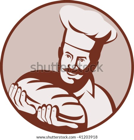 illustration of a cook,chef or baker holding a loaf of bread - stock vector