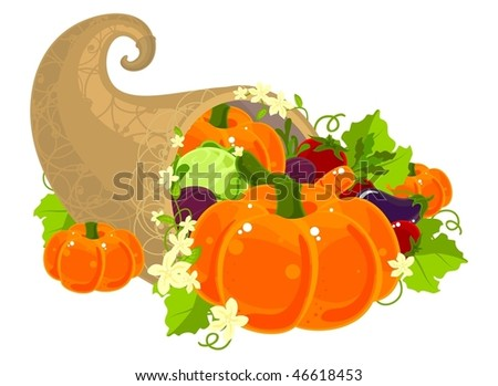Illustration of a cornucopia filled with vegetables and decorated with flowers - stock vector