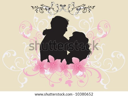 Illustration of a couple and floral patterns
