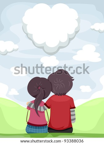 Illustration of a Couple Gazing at the Heart Shaped-cloud