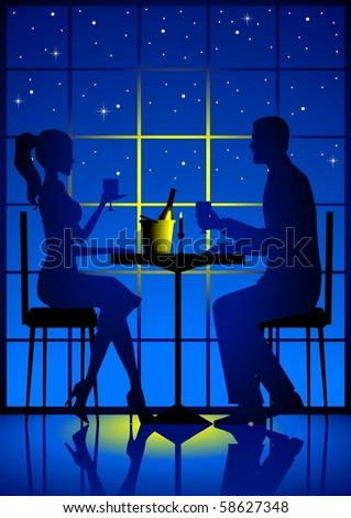 Illustration of a couple having a candle light dinner - stock vector